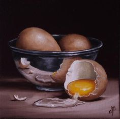 """Daily Paintworks - """"Eggs in Silver"""" by Jane Palmer"""