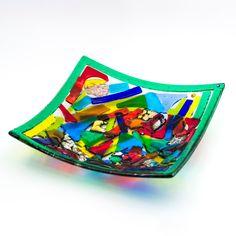 Piatto Dalì in vetro di murano ottenuto con la tecnica artigianale del vetro fusione. Murano glass plate, handmade and beautiful interior design with bright colors.