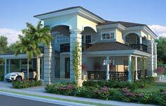 - Santiago - Home For Sale - Real Estate in Dominican Republic Village House Design, Bungalow House Design, Duplex House, Modern House Design, Dream Home Design, Home Design Plans, Modern Mansion Interior, Duplex Design, Basement House Plans