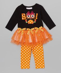 Another great find on #zulily! Black 'Boo' Tutu Dress & Leggings - Infant, Toddler & Girls #zulilyfinds