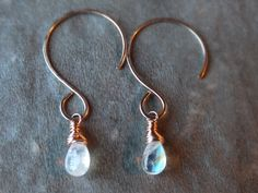 Moonstone rose gold earrings-by BirdandBeed