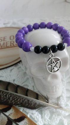 Pentagram purple Black Glass beaded bracelet jewelry jewellery witch spells goth Glass beads Hippie boho Bohemian Byron bay universe charm by HouseOfDreamers on Etsy