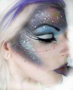 "Celestial makeup with crystal ""stars"" placed according to the Virgo constellation."