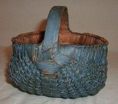 Miniature child's antique splint buttocks basket in old blue paint folk art aafa Old Baskets, Vintage Baskets, Blue Matter, Bountiful Baskets, Painted Baskets, Bee Skep, Country Crafts, Tiny Treasures, Basket Decoration