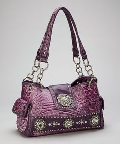 Take a look at this Purple Rhinestone Crocodile Shoulder Bag on zulily today!