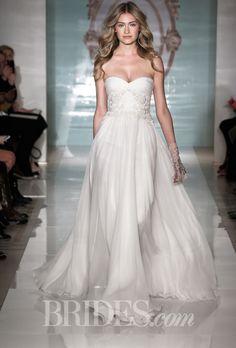 Brides.com: Reem Acra - Spring 2015. Strapless hand-draped silk chiffon A-line wedding dress with a sweetheart neckline and applique detail on the bodice, Reem Acra