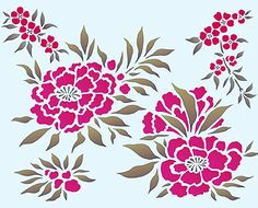 Chinese Flowers Stencil. Roses, Blossom and Azalea Stencil