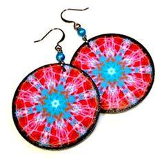 Mandala Jewelry, Jewelry Art, Mandala Art, Paper Earrings, Red Earrings, Cannabis, Earrings Handmade, Handmade Jewelry, Turquoise Glass