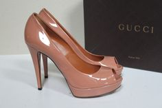 Gucci Vernice Blush Patent Leather Platform Classic Peep Toe Pump Shoe  9.5 39.5 #Gucci #PumpsClassics