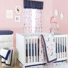 The Peanut Shell 3 Piece Baby Crib Bedding Set - Coral Pink Floral and Navy Dot Designs - 100% Cotton Quilt, Crib Skirt and Sheet