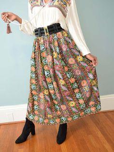 4de0c114b94 1970s Embroidered Boho Maxi Skirt - Blue Velvet Vintage 70s Outfits