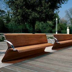 The Volo seat with backrest, available in two length options, either 900 or 1800mm, is made from one single laser cut piece of corten steel sheet