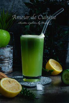 Jus vert au céleri pomme et concombre - Amour de cuisine Cold Drinks, Pint Glass, Healthy Recipes, Beer, Flan, Tableware, Brick, Cocktail, Simple