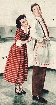 Who wears the apron?  vintage illustration of a very happy housewife!
