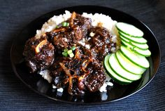Jamaican Oxtail Stew. This looks like how I make it. Plus I LOVE cucumbers!