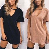 Wish | Casual Women Short Sleeve Long T-shirt Dress Solid V-Neck  Dresses