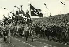 Hitler Jugend marching in a Germany, 1936