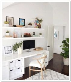 Minimalist Home Decorating Interior Design minimalist bedroom interior home office.Minimalist Home Ideas Chairs. Home Office Space, Office Workspace, Home Office Design, Home Office Decor, Home Decor, Office In Bedroom Ideas, Office Ideas, Bedroom Workspace, Home Office Shelves