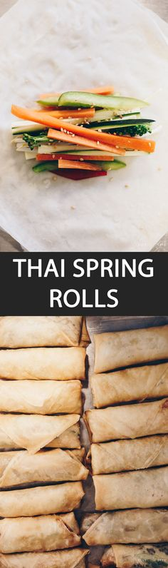 Thai Spring Rolls - {NEW RECIPE} Poh Pia Tod is the Thai name for Thailand's spring rolls. Cram it with vegetables and dip in the sauce of your choice. Family and friends will love you! Asian Recipes, Gourmet Recipes, Vegetarian Recipes, Ethnic Recipes, Veggie Recipes, Vegan Vegetarian, Dinner Recipes, Thai Spring Rolls, Vegan Dishes