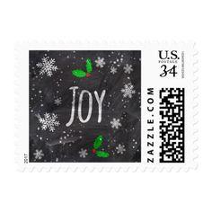 Joy typography snow black chalkboard christmas postage