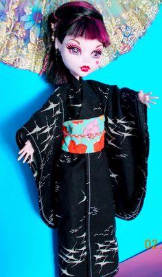 "17"" Doll Kimono, Ever After Doll Black Crane Kimono, Formal Black Kimono Flower Obi, Monster Doll Kimono, 16 Inch Doll Kimono, 17 Inch by FAIRLYGHOULISH on Etsy"