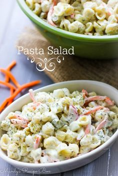 Pasta Salad with cucumber, carrots, radishes, pickles & dill weed