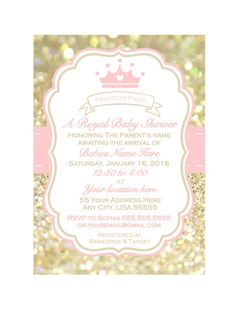 Princess Baby Shower Invitation Pink Chevron Gold Glitter Little