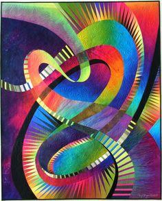 """Midnight Fantasy # 6 Por Caryl Bryer Fallert Copyright © 2003 Caryl Bryer Fallert Tamano: 59 """"x 48"""" Técnica: Teñido a mano y pintado, Máquina reconstruido y Materiales ACOLCHADOS: 100% tela de algodón / bateo: 100% algodón"""