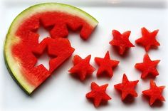 Watermelon stars! summer food, fruit salads, fourth of july, summer parties, 4th of july, watermelon, cookie cutters, cut outs, kid parties