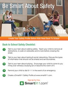 Use this back to school safety checklist to keep your teens safe this school year! Safety Checklist, Safety Tips, School Safety, Remove All, National School, Talking To You, Bullying, Back To School, Teen
