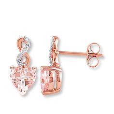 Morganite Earrings 1/20 ct tw Diamonds 10K Rose Gold