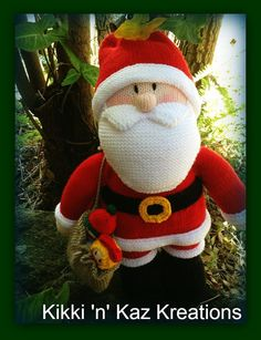 Knitted Santa  Doll by KikkinKazKreations on Etsy, $85.00