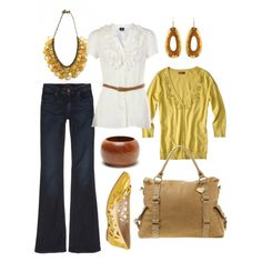 Yellow fever cute jeans & purse