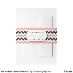 The Modern Chevron Wedding Collection- Pink & Navy Invitation Belly Band