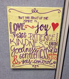 Fruit of the Spirit on 11X14 wrapped canvas by BiblebyHand on Etsy, $30.00