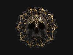 Billelis is the creative studio of UK Illustrator Billy Bogiatzoglou, specialising in Illustration, Art Direction and Design. Black Art, Black Gold, Black And Gold Aesthetic, Totenkopf Tattoos, Gold Art, Skull And Bones, Skull Art, Gold Skull, Skulls
