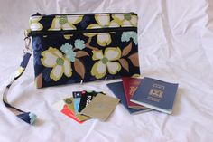 Family Passport Holder Wristlet Pouch Clutch with card slots by Tracey Lipman, $40.00