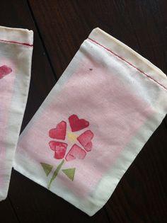 Potato Print Muslin Bags