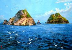 (North Korea) Dokdo island in the East sea by unknown artist.