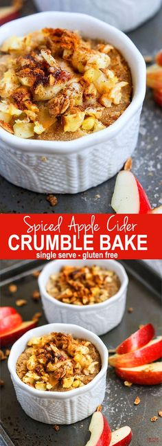 Individual Spiced Apple Cider Crumble Bake {Paleo Friendly}