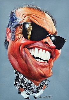 Jack Nicholson  ..FOLLOW THIS BOARD FOR GREAT CARICATURES OR ANY OF OUR OTHER CARICATURE BOARDS. WE HAVE A FEW SEPERATED BY THINGS LIKE ACTORS, MUSICIANS, POLITICS. SPORTS AND MORE...CHECK 'EM OUT!!