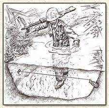 Illustrations of the types of booby traps used by the Viet Cong during the Vietnam War