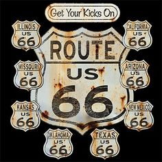 Biker T-shirt - Rt 66 Signs Tee Biker T-shirts This great t-shirt designs features several destinations along the famous RT 66 Image size: 12 X 13