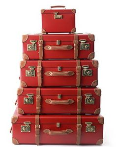 Glorious Tomato Red - such a difficult color to find, and here it is in 'A Collection of Suitcases'!!