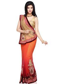 Dark Beige and Orange Art Jute Silk and Net Saree with Blouse @ $118.00