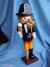 """15"""" Vintage WEST GERMAN? Painted Wood PIRATE NUTCRACKER"""