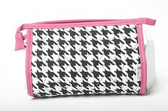 Belvah Quilted Houndstooth Cosmetic Purse Black/White/Pink