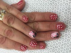 Minnie Mouse nail art. Gel polish