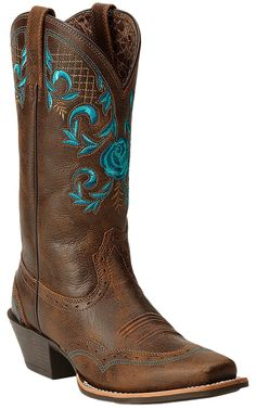 Ariat Terrace Acres Women's Vintage Bomber Brown with Turquoise Rose Top Punchy Square Toe Cowboy Boots