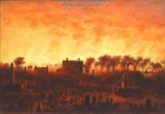 Great Fire of Portland from Eastern Cemetery, 1866. The painting, one of six by George Frederick Morse portraying the Great Fire of 1866, shows the Eastern Cemetery in the foreground. Item # 16928 on Maine Memory Network